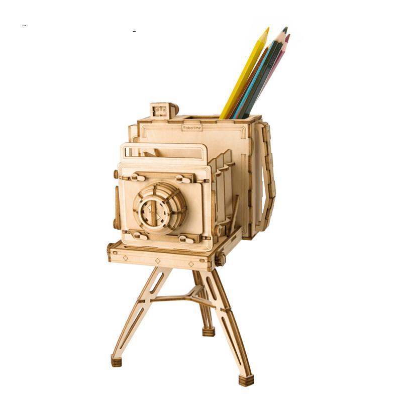 DIY 3D خمر خشبي كاميرا لعبة اللغز PenholderGift للأطفال كيد صديق نموذج البناء مجموعات شعبية لعبة TG403