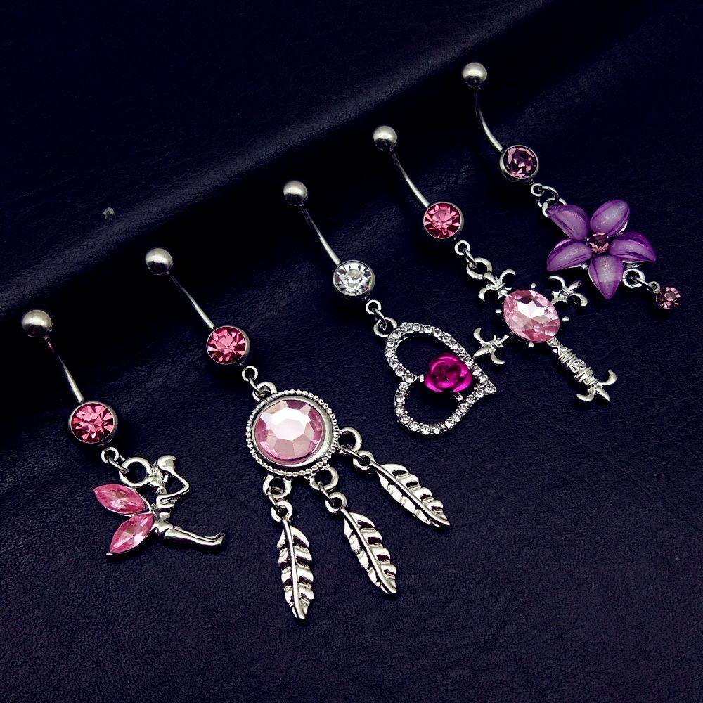 Rosa de cristal rhinestone flores cuelgan ombligo del vientre anillo Barra Piercing vendedor Reino Unido