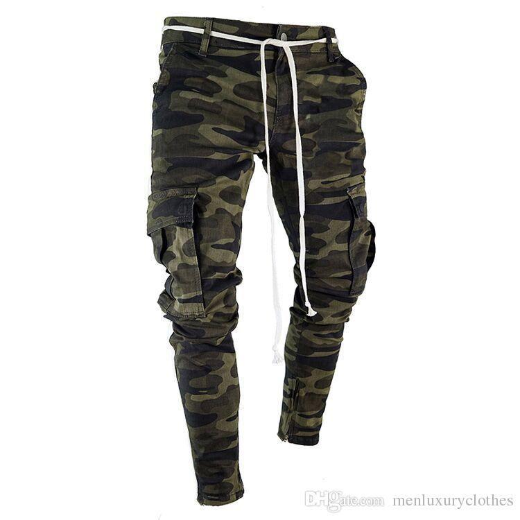 Mens Camuflagem Designer de Lápis Calça Jeans Moda Grandes Bolsos Listrado Com Zíper Projeto Magro Calças de Jean