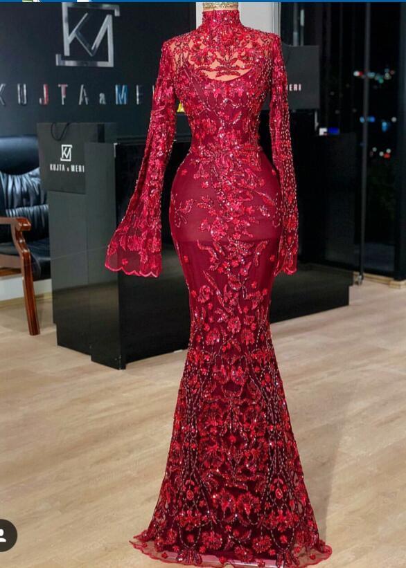 Evening dress Yousef aljasmi Labourjoisie568 Zuhair murad Trumpet High Collar Long Sleeve Red Tulle Appliqued Sequins Long Dress James_paul