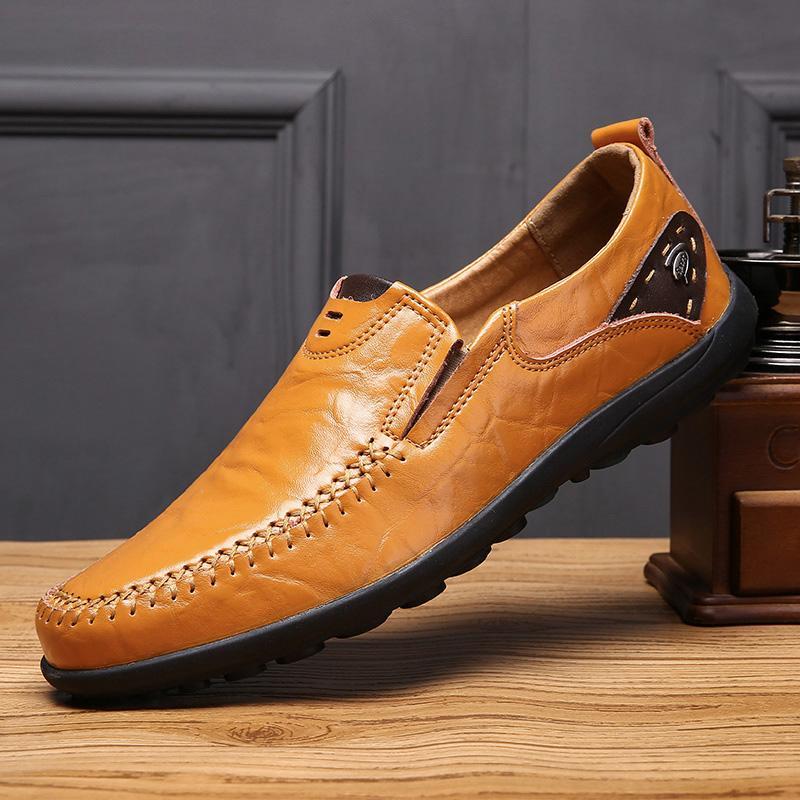 Couro genuíno Homens Casual Shoes Men Loafers macia Mocassins respirável deslizamento em sapatas preto Condução preguiçoso Plus Size 37-47