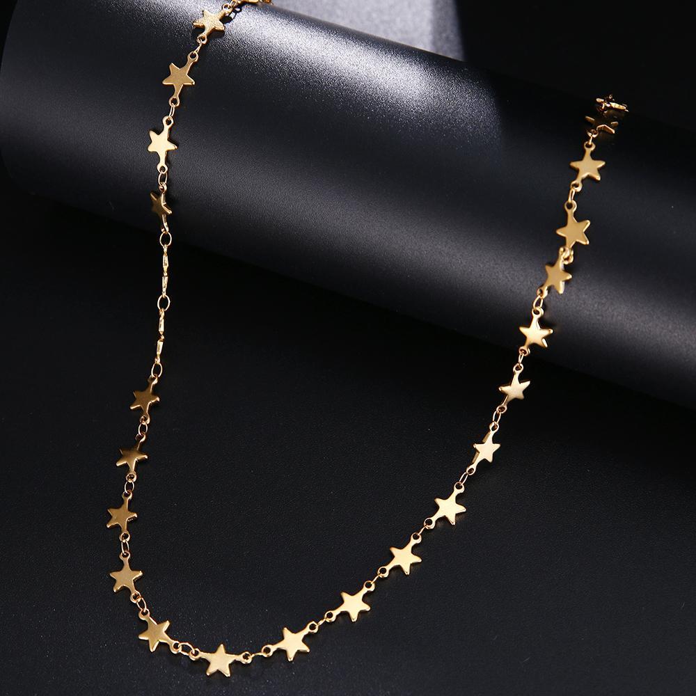 Ожерелье цепи из нержавеющей стали для мужчин Женщины Золотой Серебряный Цвет Цветной Пентаграмма Не исчезает Ювелирные Изделия