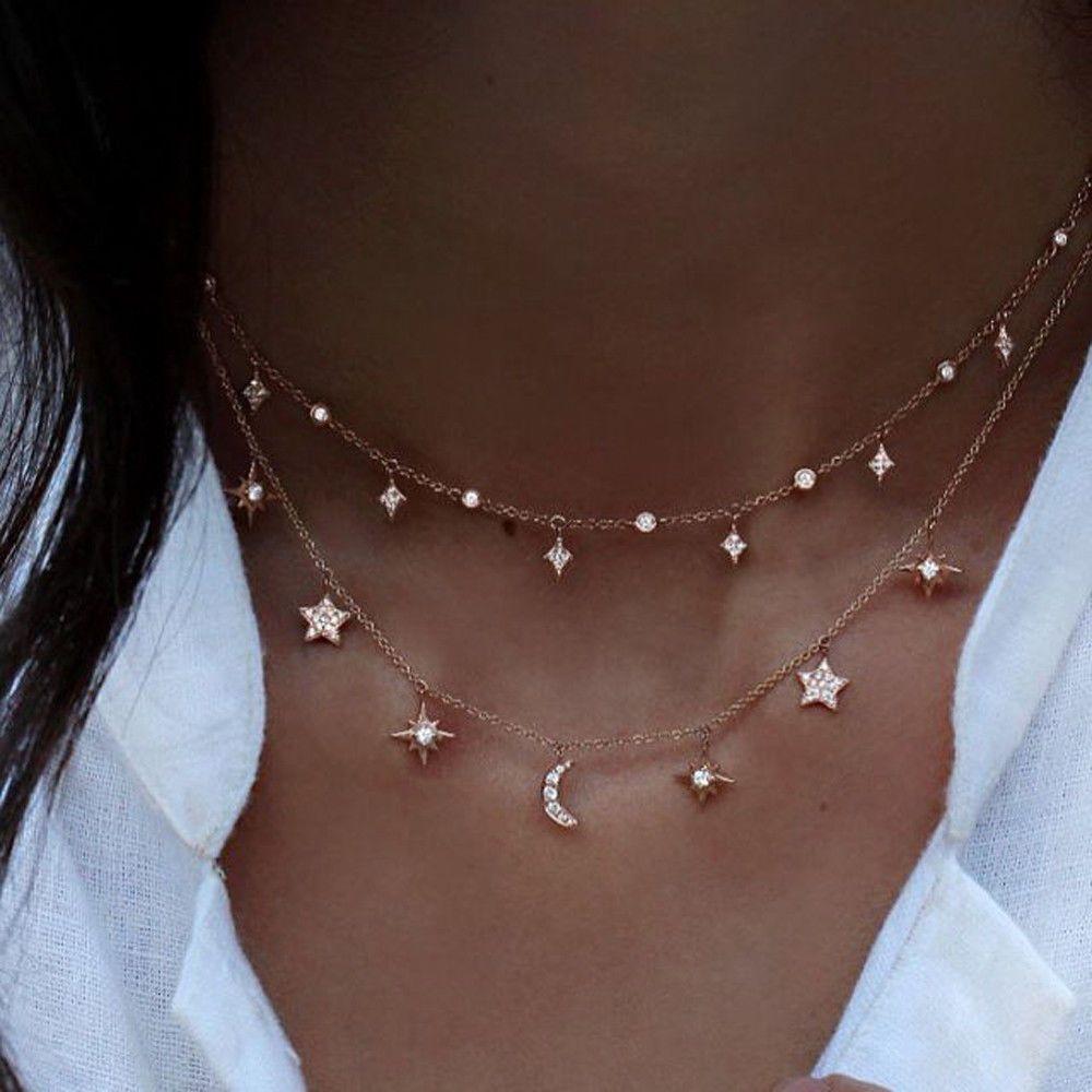 الأزياء متعددة الطبقات المختنق قلادة نجمة القمر سلسلة الذهب المرأة المجوهرات الصيف