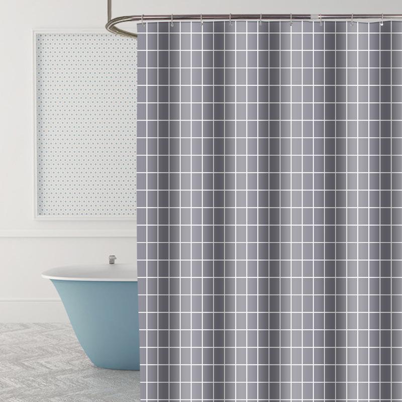 Wasserdichten Duschvorhang Polyester verdickte Badezimmer Fenster Partition Vorhang Grau Gitter Mordern einfache Art-Bad-Accessoires