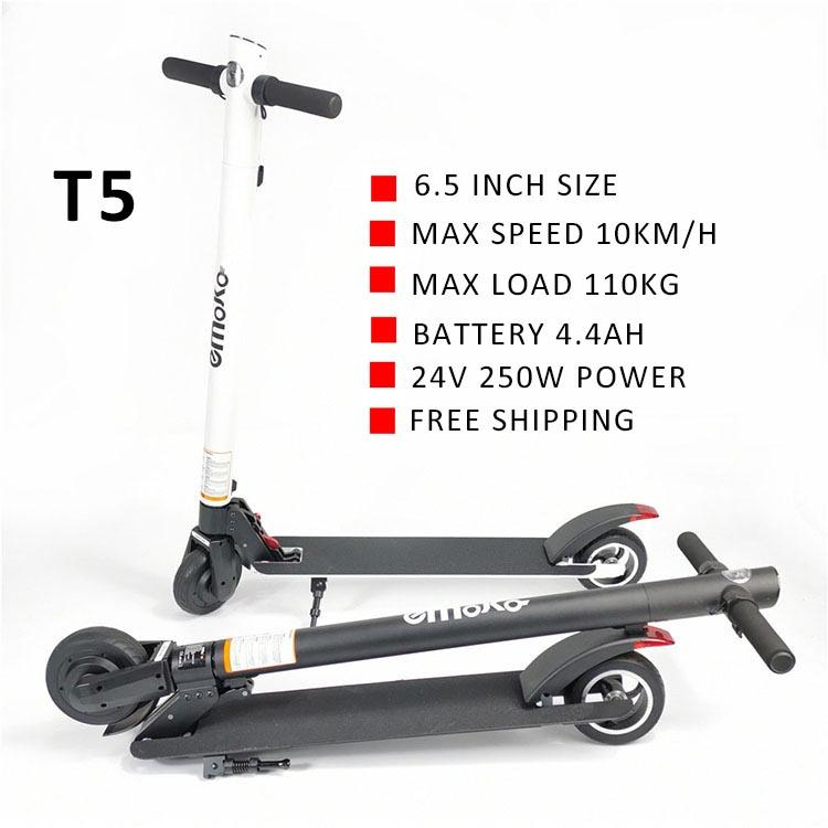 EU Warehouse 6.5 inch solid tyre fashion electric scooter 24V 250w motor 4.4Ah Battery with USB charge port scooters