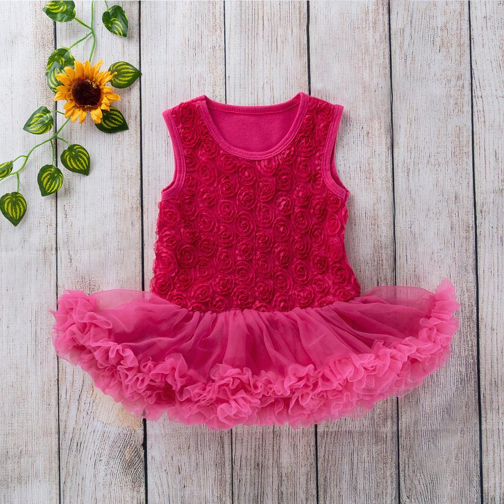 Newborn Baby Girl Ruffle Romper Dress Sleeveless Lace Tutu Bodysuit Jumpsuit Infant Summer Clothes