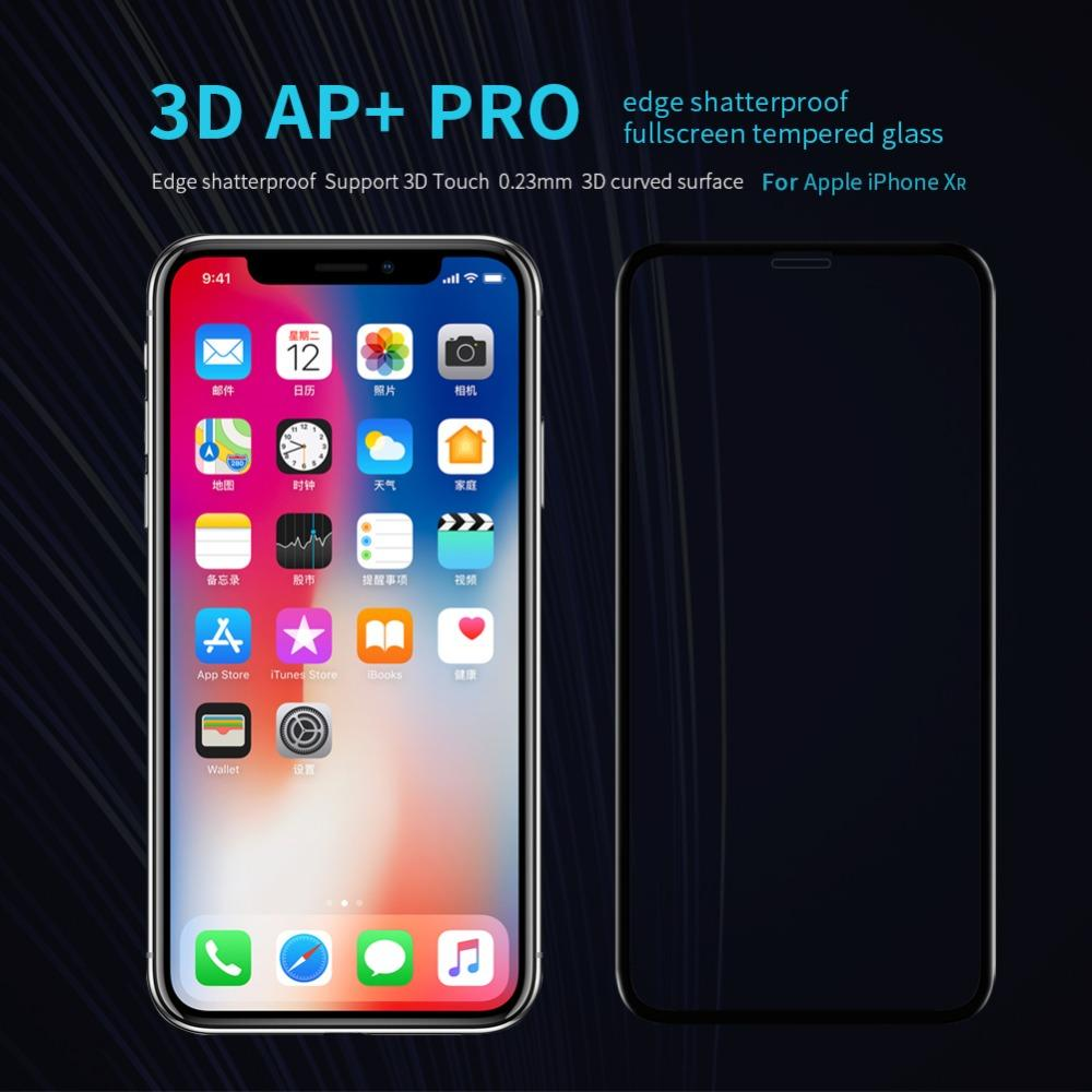 10pcs/lot Nillkin For iPhone XR screen protector Soft Edge Amazing AP+ Pro Film For iPhone 6.1 Tempered Glass Full cover