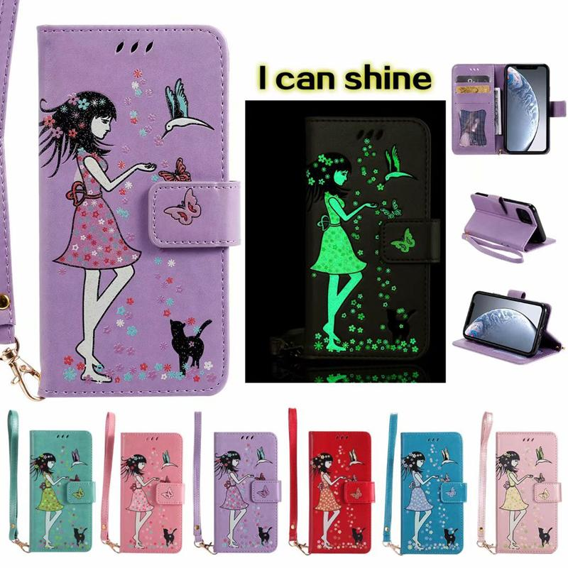 Luminous Leather Wallet Glow In Dark Butterfly Card Holder Case for Iphone 11 pro max XR XS MAX 6 7 8 plus Samsung S10 PLUS S10E NOTE10
