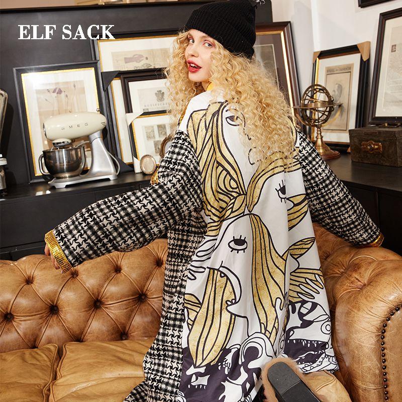 Elf Sack Новая зимняя женская шерстяная смесь зимнее пальто Повседневная зимняя куртка Винтажная шерстяная смесь Куртка с длинным ветровым жакетом из шерсти SH190825