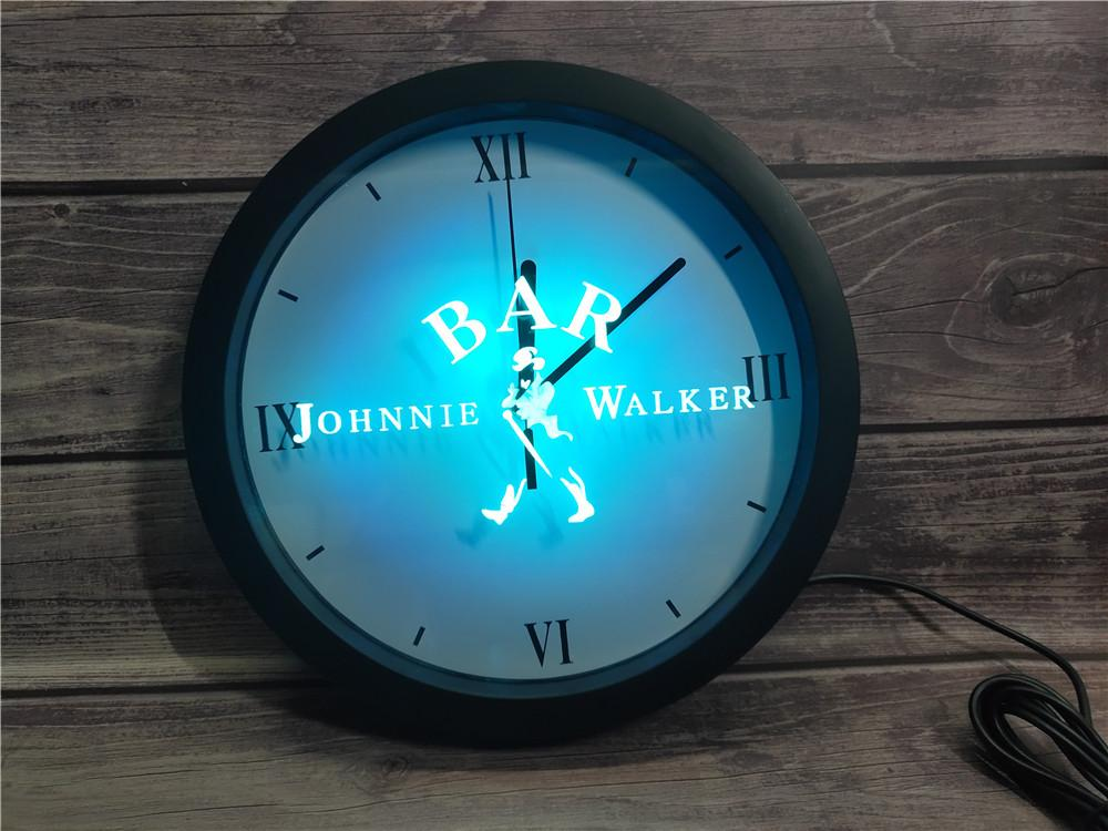 بار 0A439 ويسكي جوني ووكر النبيذ APP RGB LED ساعة الحائط ضوء النيون علامات