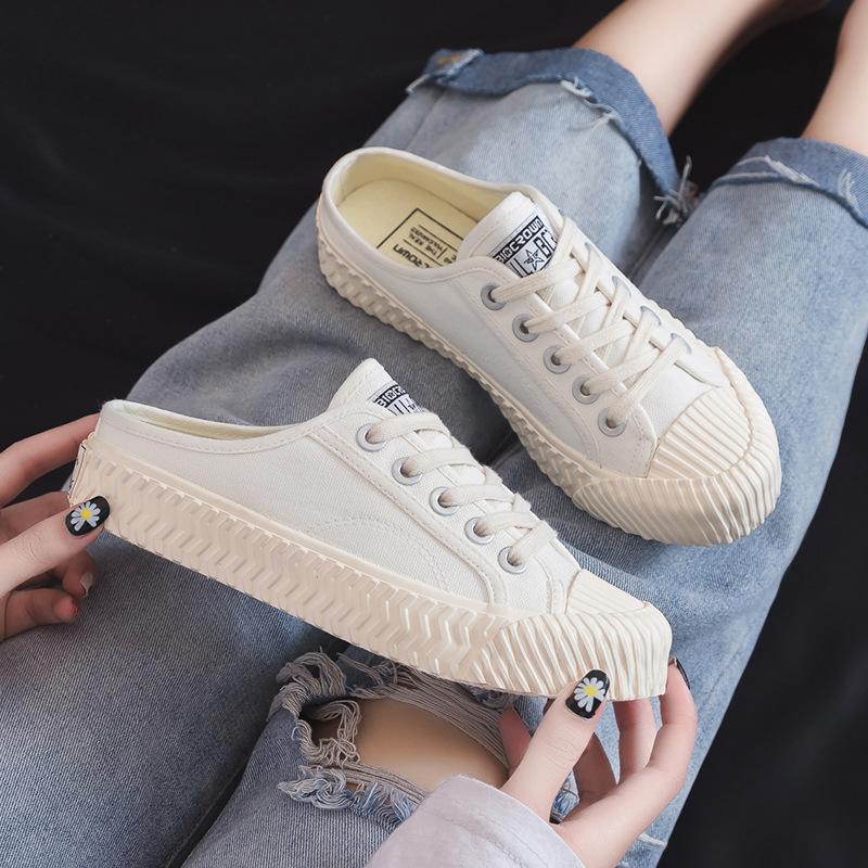 Kanvas ayakkabılar kadınlar 2020 yaz bayanlar vahşi tembel yarım terlik gündelik düşük üst nefes kanvas kadın ayakkabıları FC-11