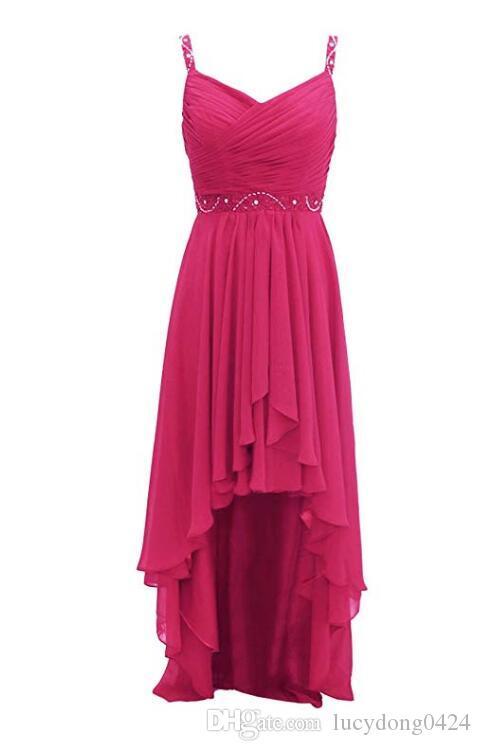 Yüksek Kaliteli V Yaka Spagnetti Yüksek Düşük Gelinlik Elbise A-line Şifon Düğün Parti Elbise Kadınlar Için Akşam Fermuar Sequins Boncuklu