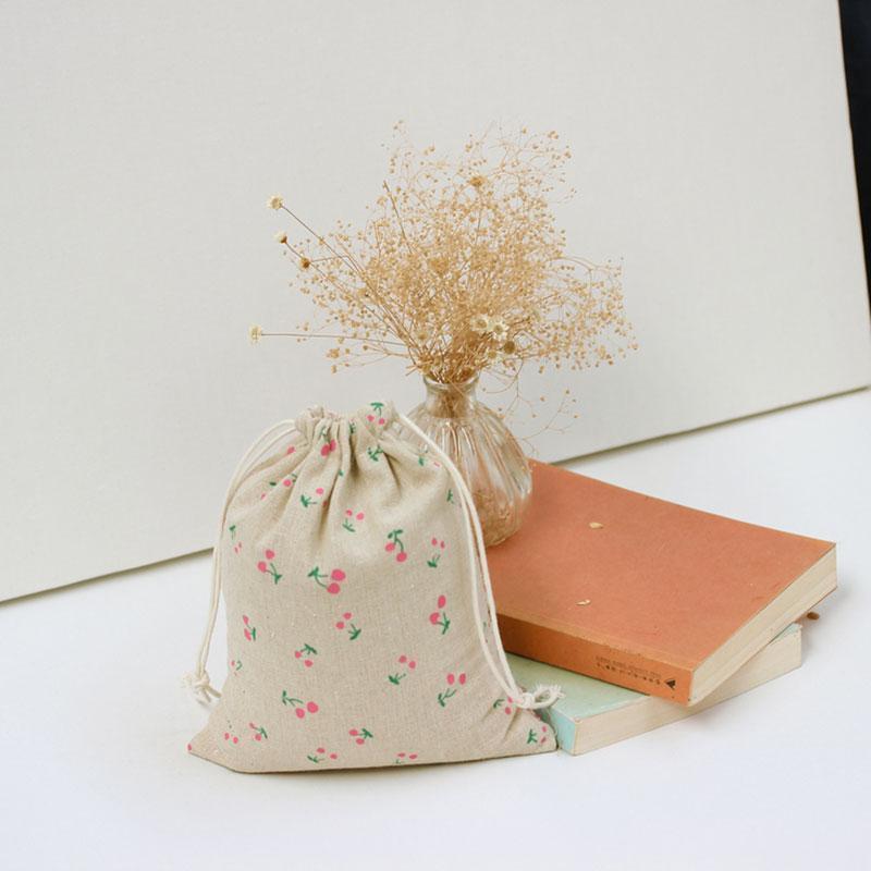 Розовый вишневый узор 100% хлопок белье шнурок сумки одежда путешествия магазин организатор пыли ткань сумка главная Sundry детские игрушки сумки для хранения