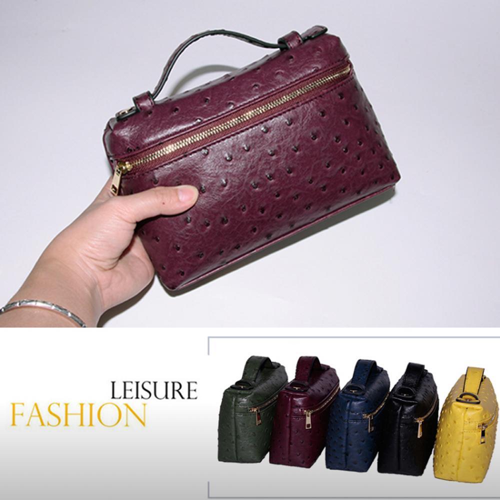 2019 Мода натуральной кожи кошелек женщины сумка на заказ письмо Ostrich кожа сумка Party мешок муфта