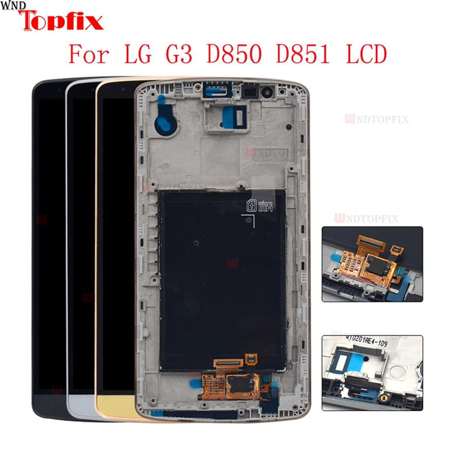 """100% Tested 5.5""""inch LCD For LG G3 D850 D851 LCD Display Touch Screen Digitizer Assembly With Frame Pantalla Replacement Parts"""