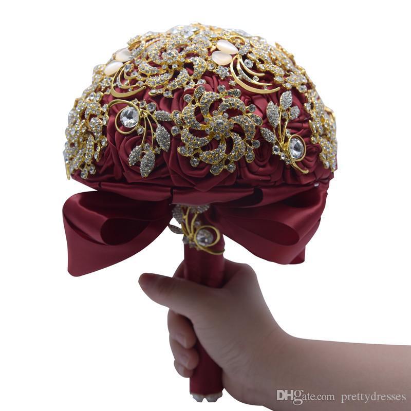 Luxuoso Broche de Cristal Bling Bling Wedding Bouquet De Casamento Artificial Rose Flores Bouquets De Mariage Dama De Honra Handhold
