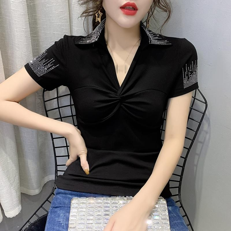 Summer Fashion Korean Clothes T-shirt Sexy V-Neck Drape Diamonds Women Tops Ropa Mujer Cotton Short Sleeve Shirt Tees New T03205 T200615