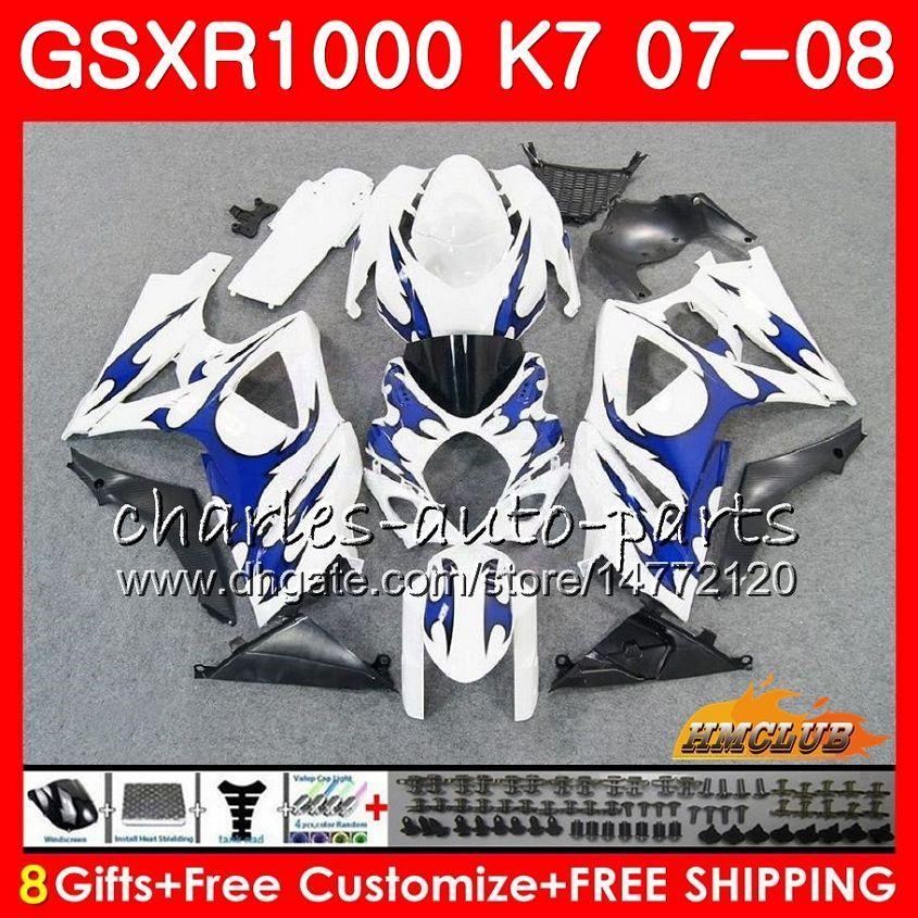 Bodywork für Suzuki GSXR-1000 GSXR1000 Blue Silvery HOT 2007 2008 07 08 Bodys 12HC.19 GSX R1000 GSX-R1000 K7 GSXR 1000 07 08 ABS Fairing Kit