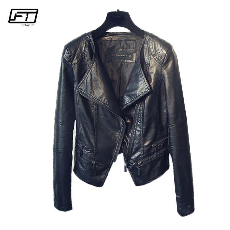 Fitaylor Bahar Sonbahar Bayanlar Motosiklet Deri Ceketler Kadın Turn-down Yaka Fermuar Ince Siyah Moto Biker Ceket Kadın T5190612