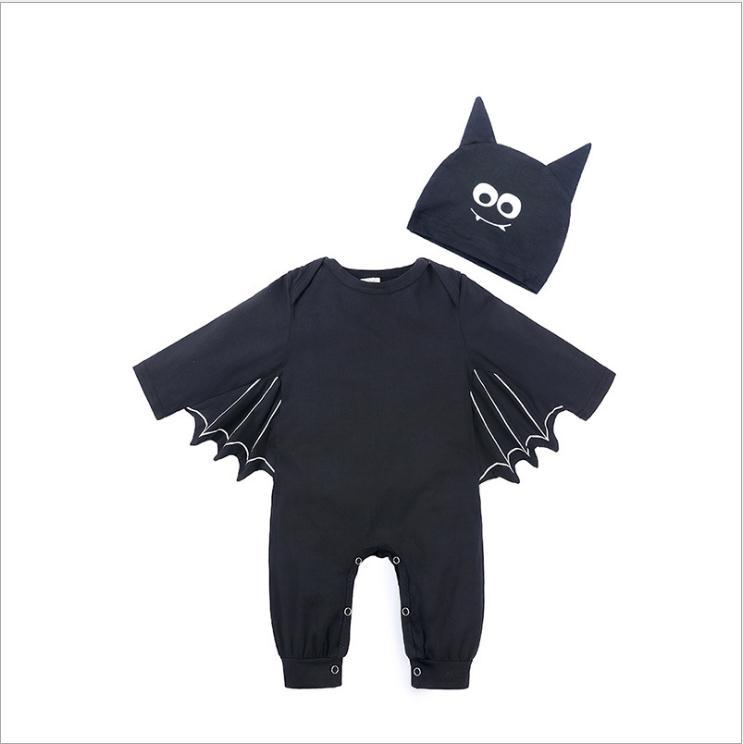 Toddler Baby Boy Girl Halloween Bats Sleeve Romper Cosplay Costume With Hat Sets