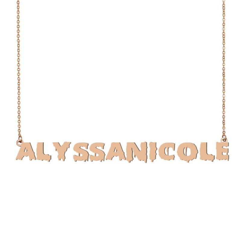 AlyssaNicole Name Necklace , Cool Bloody Art Name Necklace for Halloween and Santa's Day Jewelry Gift for Kids Boys Girls