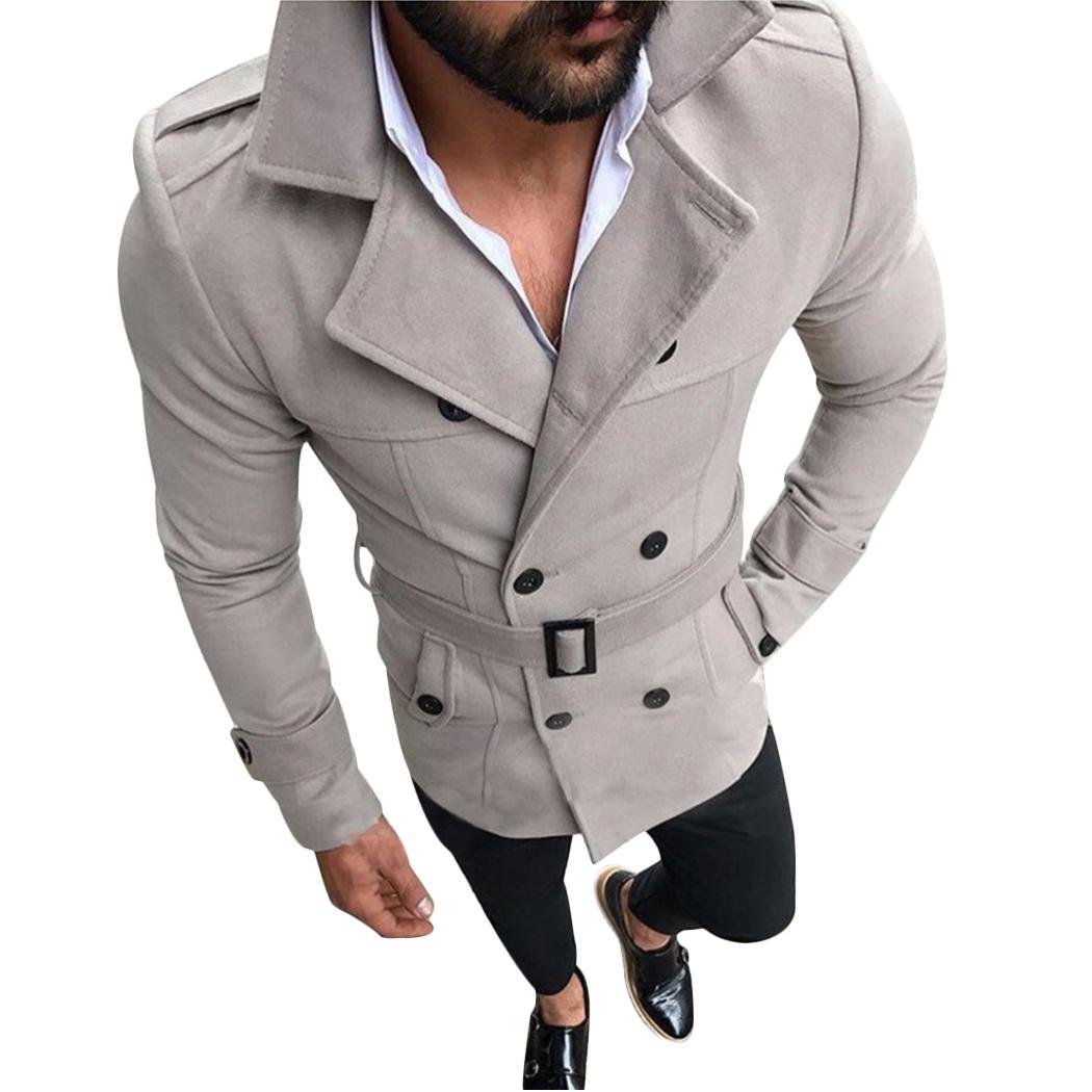 Мода осень зима тренч пальто мужчины двубортный теплый длинный жакет отложной воротник пальто fz0956