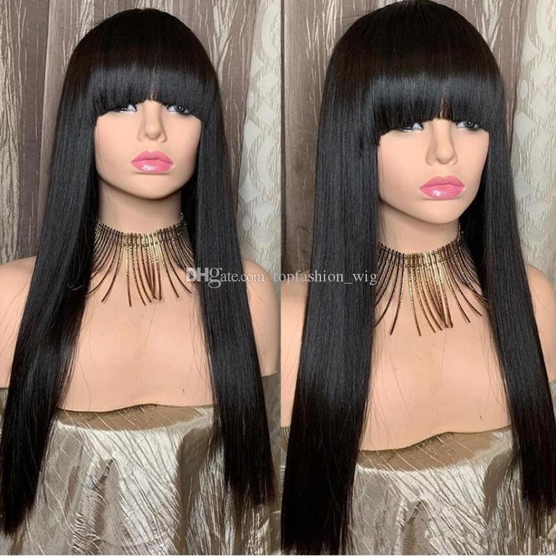 Jet Black Silk Top Lace Front Wig with Bangs Full Lace Wig Human Hair Unprocessed Brazilian Silk Base Wigs With Baby Hair