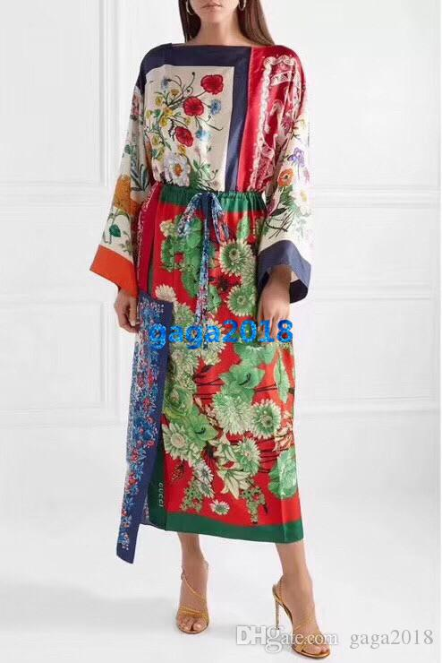 women girls shirt dress patchwork flora print drawstring crewneck long sleeve a-line trumpet midi skirts high-end fashion luxury dresses