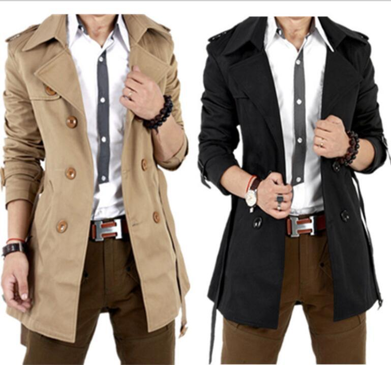 Spalline bavero cinture molla nuovi uomini sottile strato giacca a vento capispalla doppio petto cappotto del rivestimento
