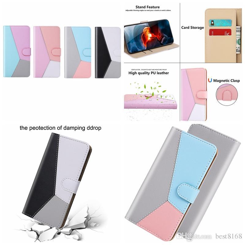 Hit Contrast Color Hybrid Leather Wallet Case For Samsung S20 Ultra Plus A01 A21 A51 A71 A81 A91 A70E ID Card Slot Holder Phone Flip Cover