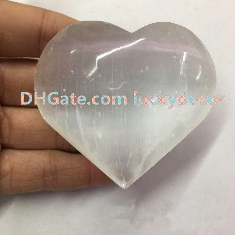 "2/"" ORANGE SELENITE POCKET PALM WORRY STONE Healing Crystal Reiki 1pc US SELLER"
