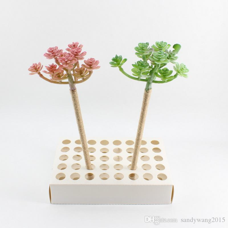 New Twine / Plastic Simulated Fleshy Plants Flowering Immortals Blue Pencil Lead Ballpoint Pure Manual Winding Craft Gifts For Office & Sc
