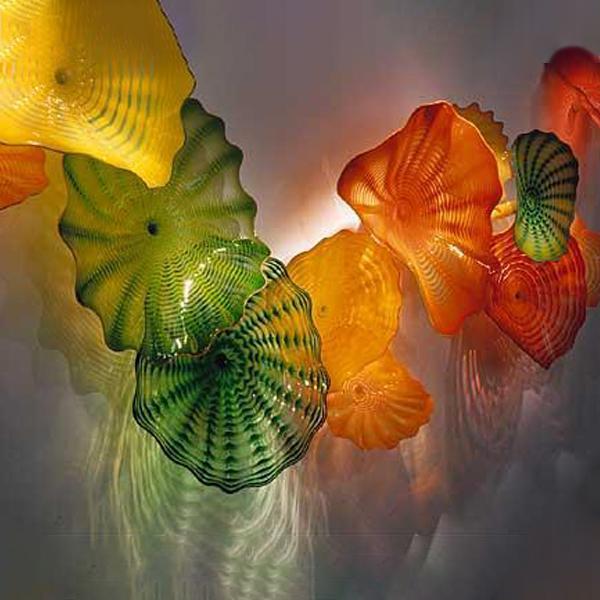 Рта взорвать стекло стекло искусство тарелки современный зеленый оранжевый желтый цвет мурано стекло абстрактное искусство стены висит тарелки настенные лампы бесплатная доставка