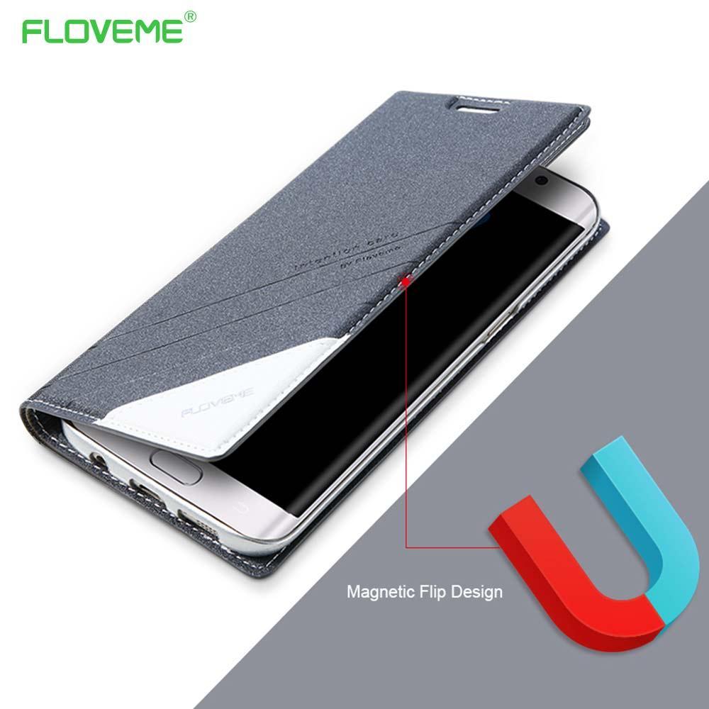Toptan Orijinal Manyetik Kılıf Samsung Galaxy S7 S6 Kenar Deri Cüzdan Flip Kapak Için 360 Coque Galaxy S7 S6 S8 S8Plus Çapa