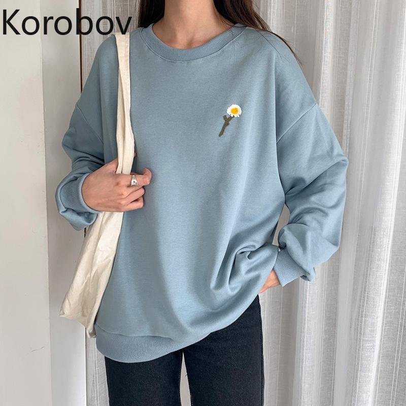 Korobov 2020 New Chic O Long Neck Sleeve Mulheres Hoodies coreana Streetwear bordados de flores fêmeas camisolas casual Outwear Top