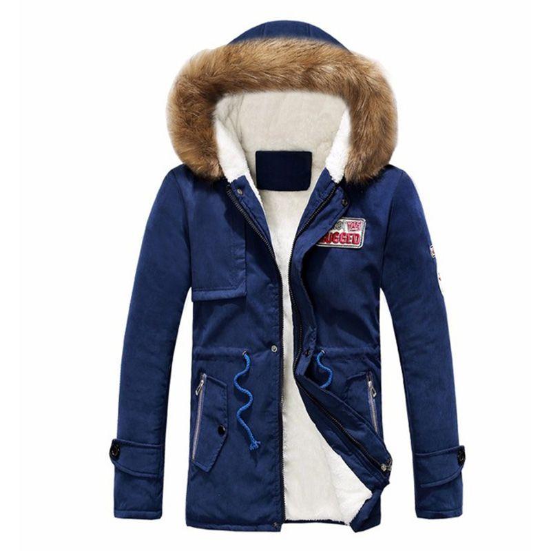 Chaquetas de algodón con capucha de invierno Hombres Casual Imprimir Mens Parka Abrigos Bordado Espesar Cálido Chaqueta de esquí y Abrigos para Hombres Tallas grandes