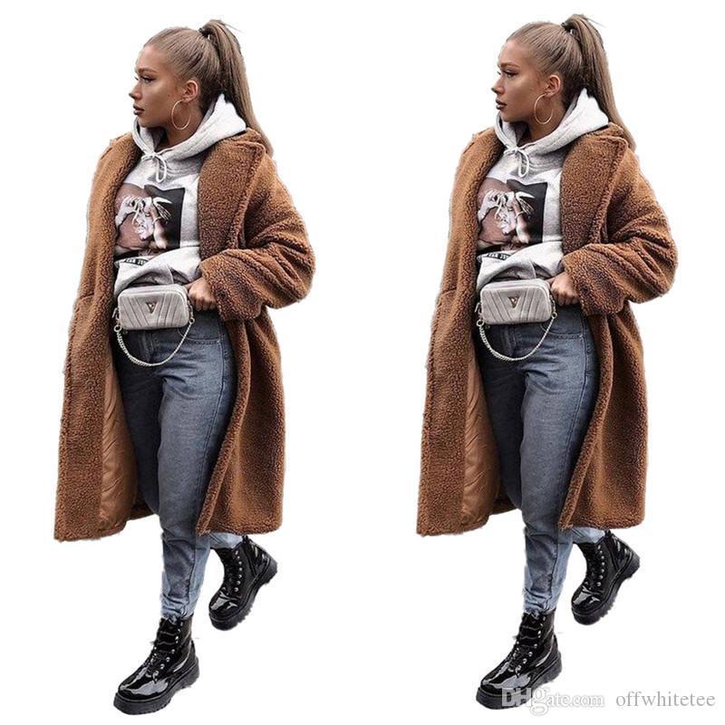 أفخم الشتاء النساء معاطف أنيقة فضفاضة الصلبة اللون بأكمام طويلة التلبيب الرقبة سميكة X-معاطف طويلة أزياء المرأة معاطف