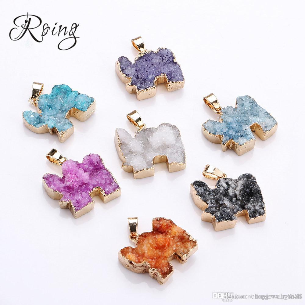 Roing Elephant Natural Stone Crystal Necklace Charm Pendant Multicolor Blue Purple Necklaces Jewelry Accessory C017