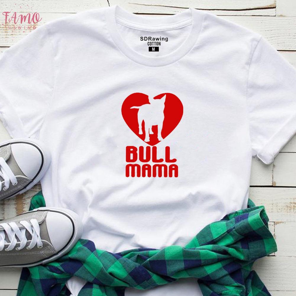 Kadın Bull Terrier Tişörtlü Bull Mama El Baskı Gömlek Bullterrier Lover Hediye Fikir Psiakrew Kadın Tişörtlü Pamuk Tees Tops