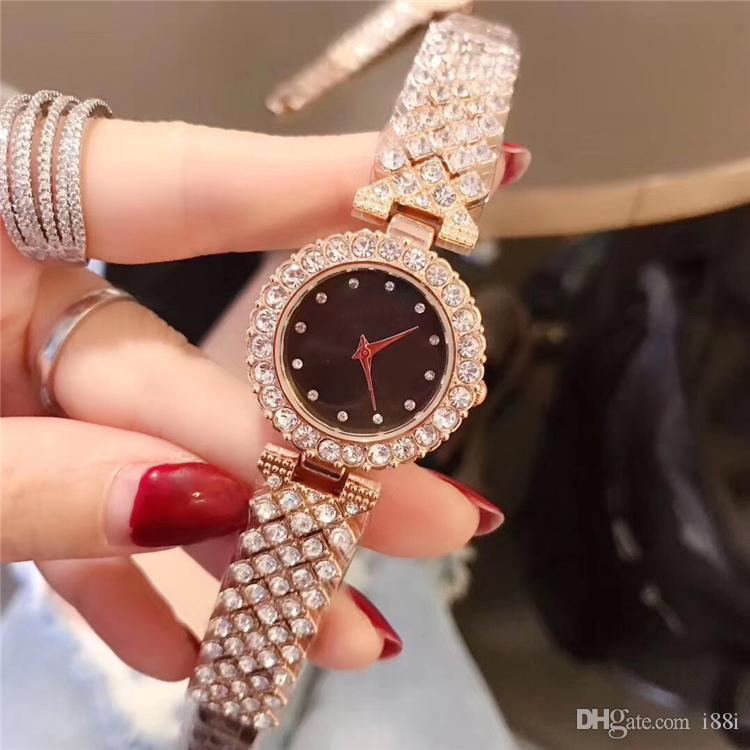 Nouvelles femmes de mode de haute qualité montre en or rose / argent diamants de luxe belle en acier inoxydable goutte d'horloge à quartz dame élégante expédition partie