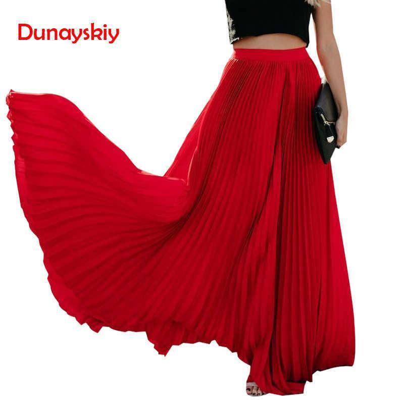 Plisado elegante elegante faldas largas para las mujeres Fiesta de la noche Playa Boho Playa Faldas Color puro Streetwear vestido de bola palabra de longitud Y19043002