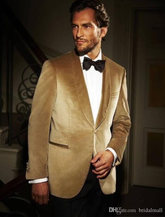 Altın Kadife Ceket Şal Yaka Erkek Takım Elbise Slim Fit Smokin Resmi Damat smokin Balo Yemeği Suit Custom Made One Piece Coat Blazer Ceket
