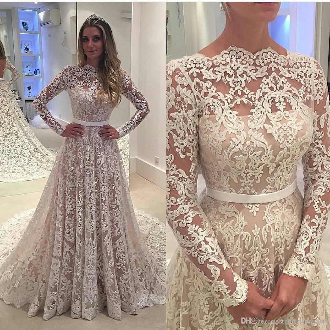 2020 Vente chaude Une ligne Bateau Sheer cou robes de mariée corsage en dentelle manches longues Traîne Vintage Robe de mariée Robes de mariée pas cher