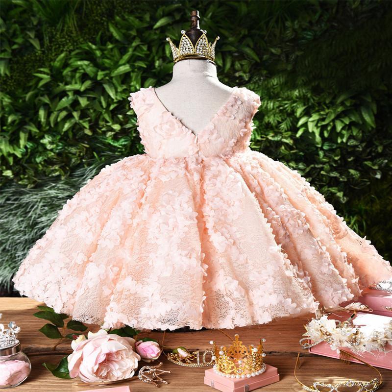 Bebek Pembe taç yaprağı zarif Çiçek Kız gelinlik tutu prenses Kız Bebek Elbise için Kız Elbise Vaftiz elbise