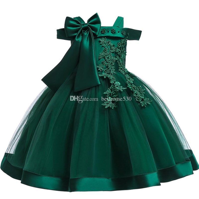 Bebek Kız 3D Çiçek Ipek Prenses Elbise Düğün İçin Parti için Büyük Yay Tutu Çocuklar Elbiseler Toddler Kız Çocuk Moda Giyim