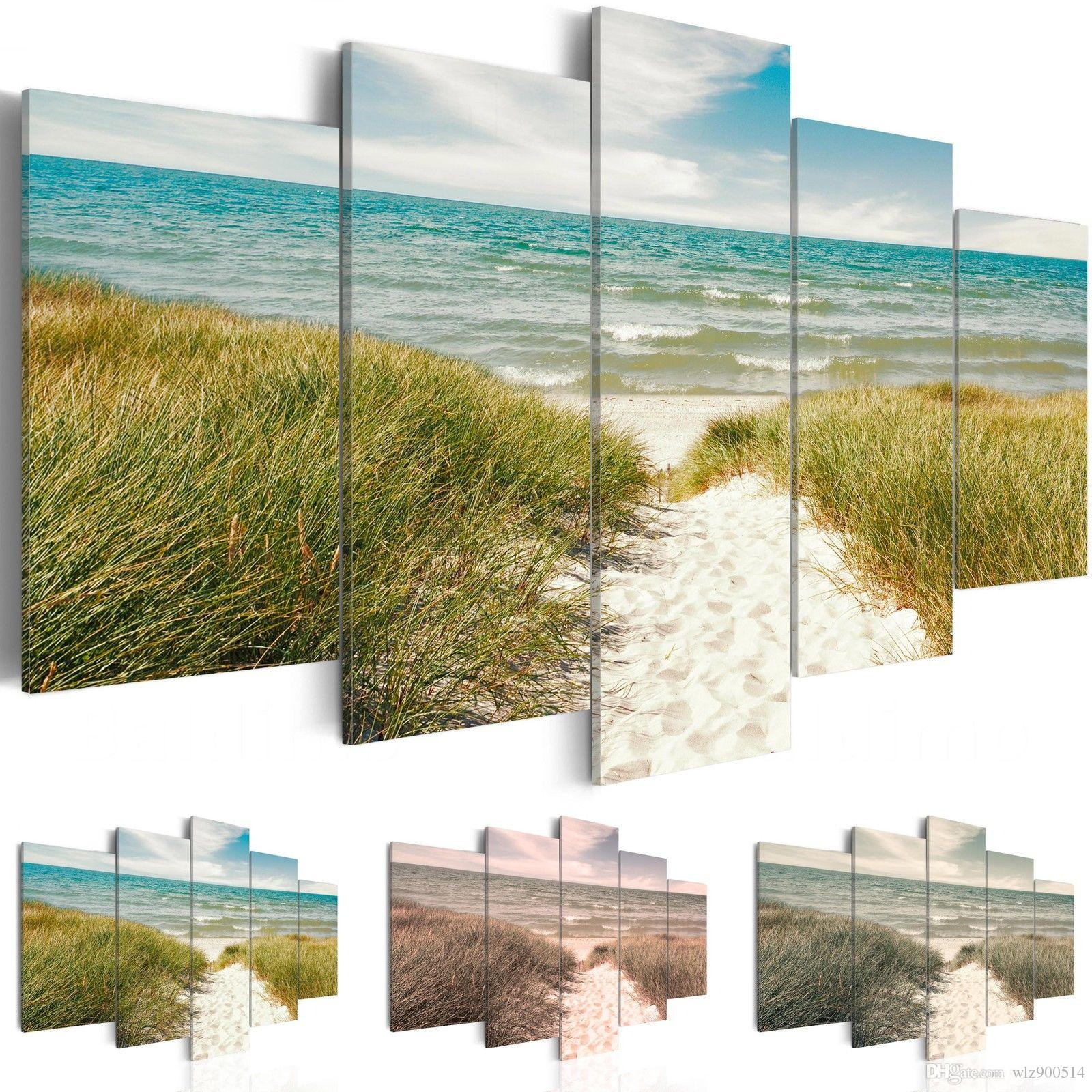 (No Frame)Modern Scenic Beach Grassland Canvas Print Modern Art Painting Fashion Design for Home Decoration, Choose Color & Size