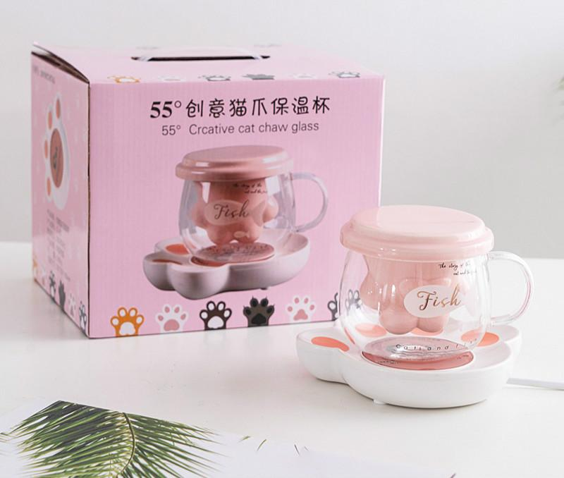 220V 15w Electric insulation base Cat claw warmer Coaster 55degree creative Thermostatic heater with glass cup Gift package