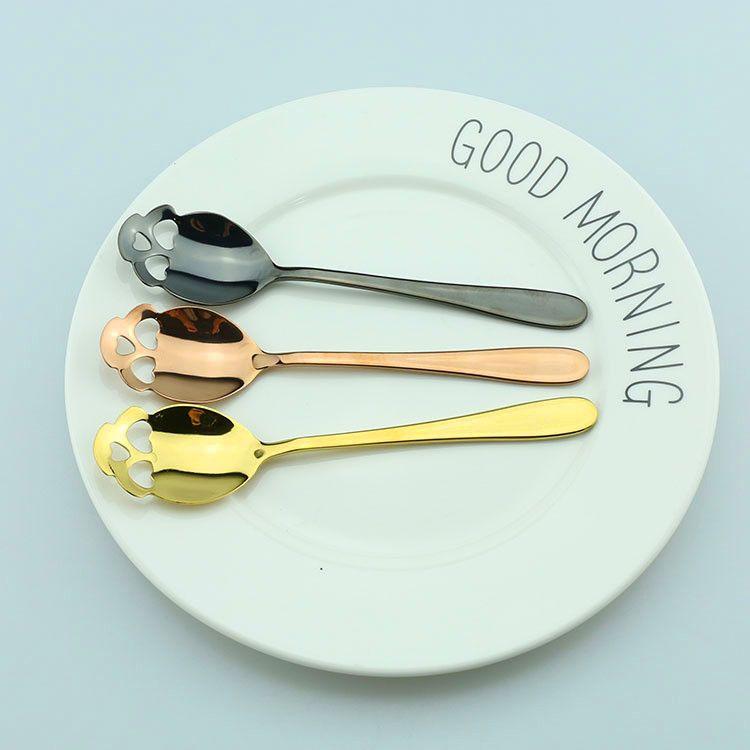 Novidade açúcar crânio colheres de chá aço inoxidável 304 talheres ouro cobre preto cor