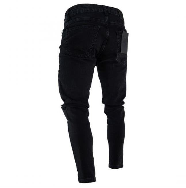 Fashion-Mens Zipper Holes Designer Jeans Black Ripped Slim Fit Represen Pencil Pants