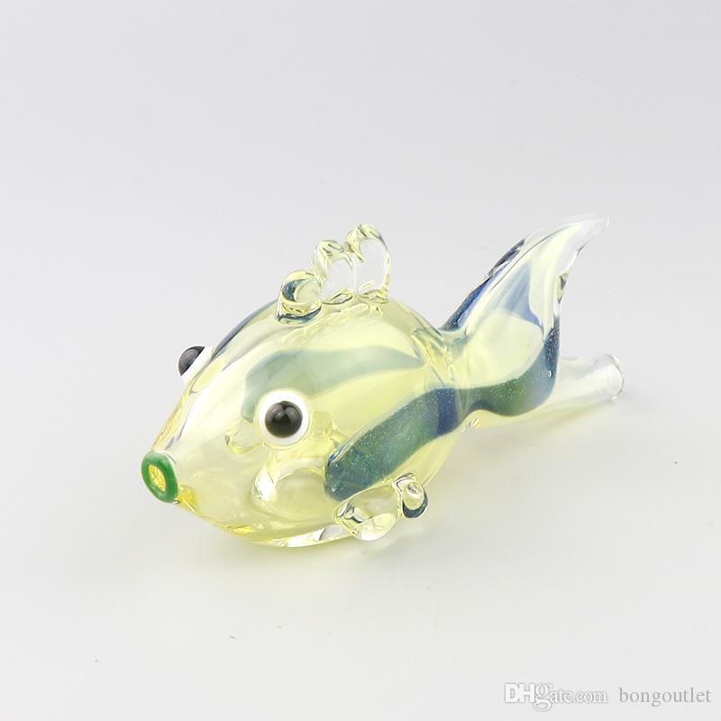 Fischform Glas Handrohrgeschenk Rauchen 4,5 cm hoch so süßer Art zum Rauchen